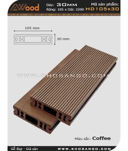 Sàn gỗ Awood  HD 105x30_cafe