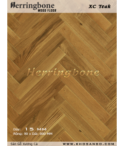Teak herringbone wooden floor